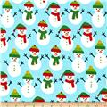 Kaufman Jingle Flannel Snowmen Glacier