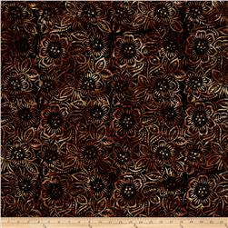 Batavian Batiks Dancing Flowers Black/Brown