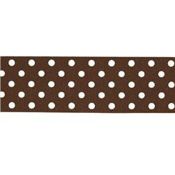 5/8'' Grosgrain Ribbon Polka Dots Brown/White