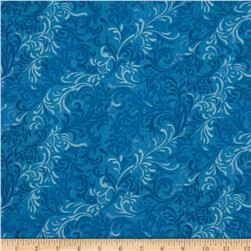 108'' Wide Essentials Quilt Backing Flourish Blue Fabric
