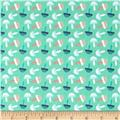 Fabric Freedom Woodland Animals Little Mushrooms Aqua