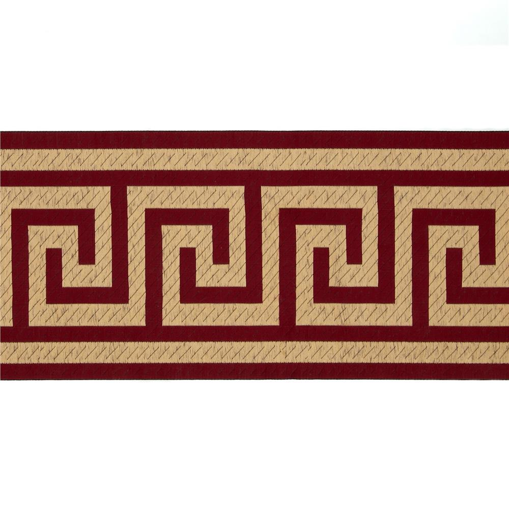 zoom 6 woven home decor greek key tape wine red - Discount Designer Home Decor