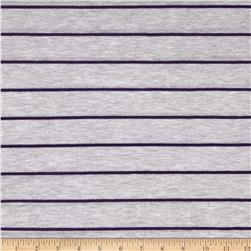 Designer Yarn Dyed Jersey Knit Stripes Purple/Grey