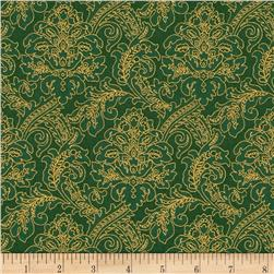 Moonlight Peacock Metallic Tapestry Evergreen/Gold