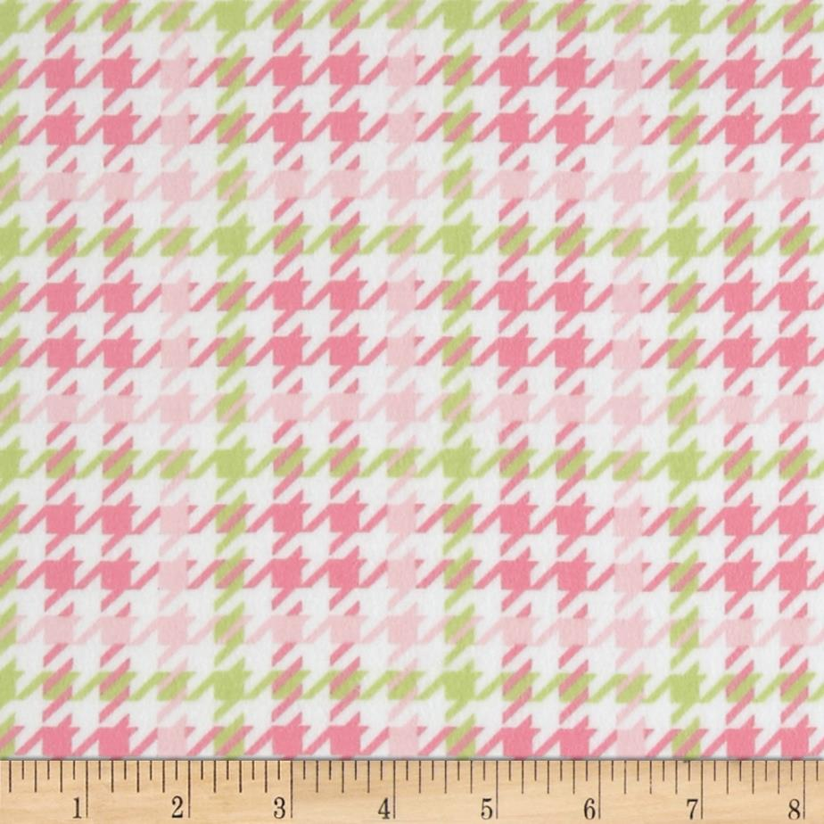 Cozy Cotton Flannel Houndstooth Pink Fabric By The Yard