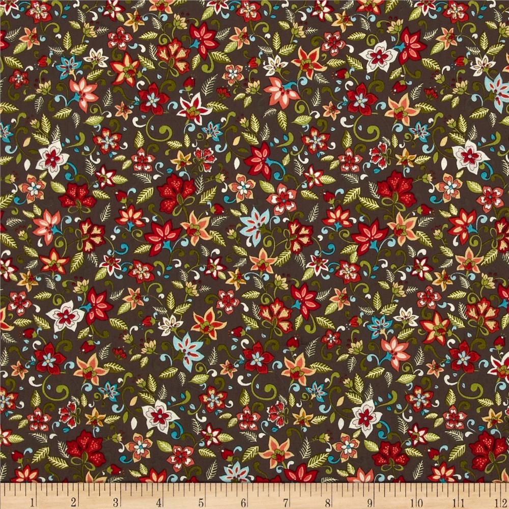 Small Jacobean Floral Brown