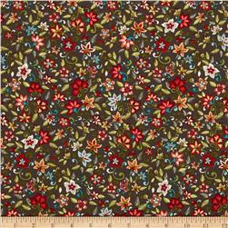 Small Jacobean Floral Brown Fabric
