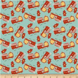Riley Blake On Our Way Firetrucks Teal Fabric