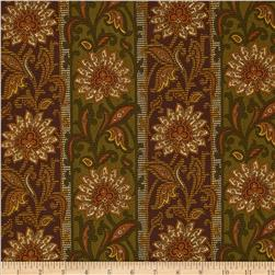 Elizabethtown Traditional Floral Stripe Brown/Green