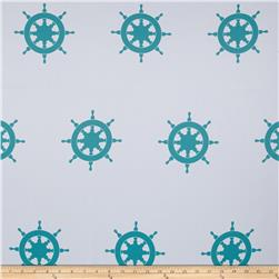 RCA Blackout Drapery Fabric Captain's Wheel Aqua