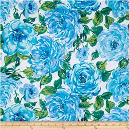 Ambrosia Large Floral Blue Fabric