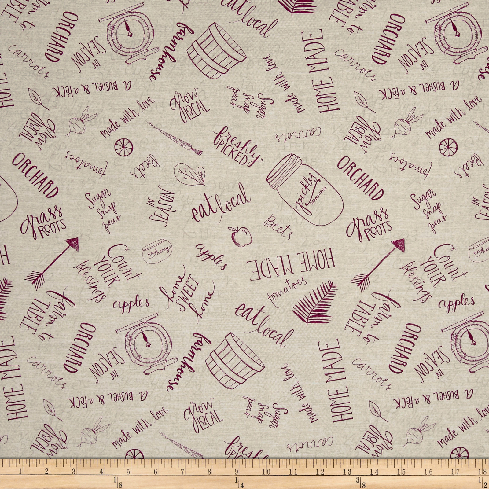 Freshly Picked Kitchen Toile Light Gray Fabric