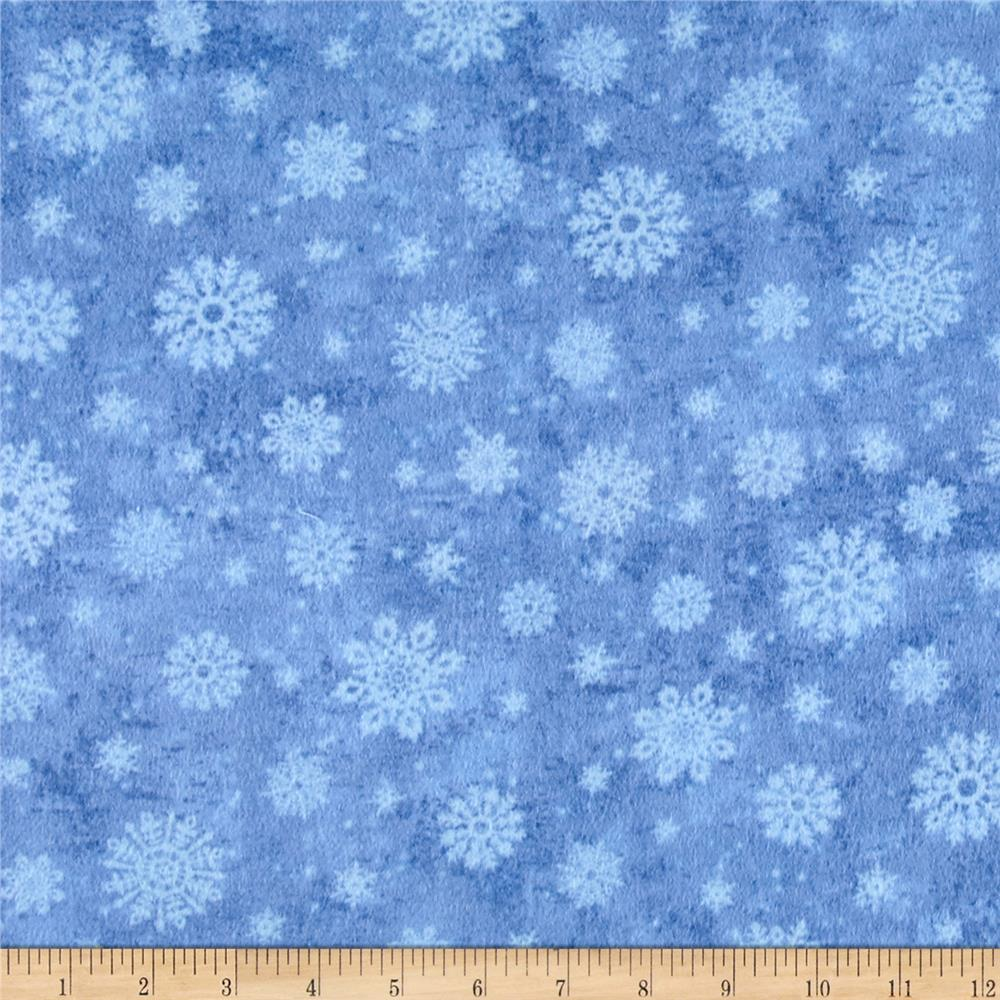Timeless Treasures Winter Memories Flannel Snowflakes Sky