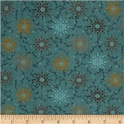 108'' Wide Quilt Backing Prairie Vine Teal Fabric