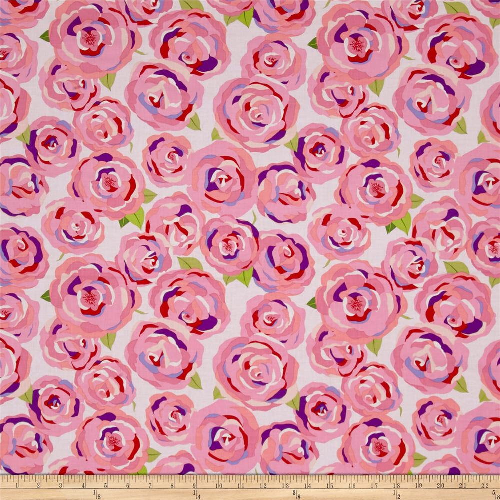 Penny Rose Coming up Roses Main Pink Fabric