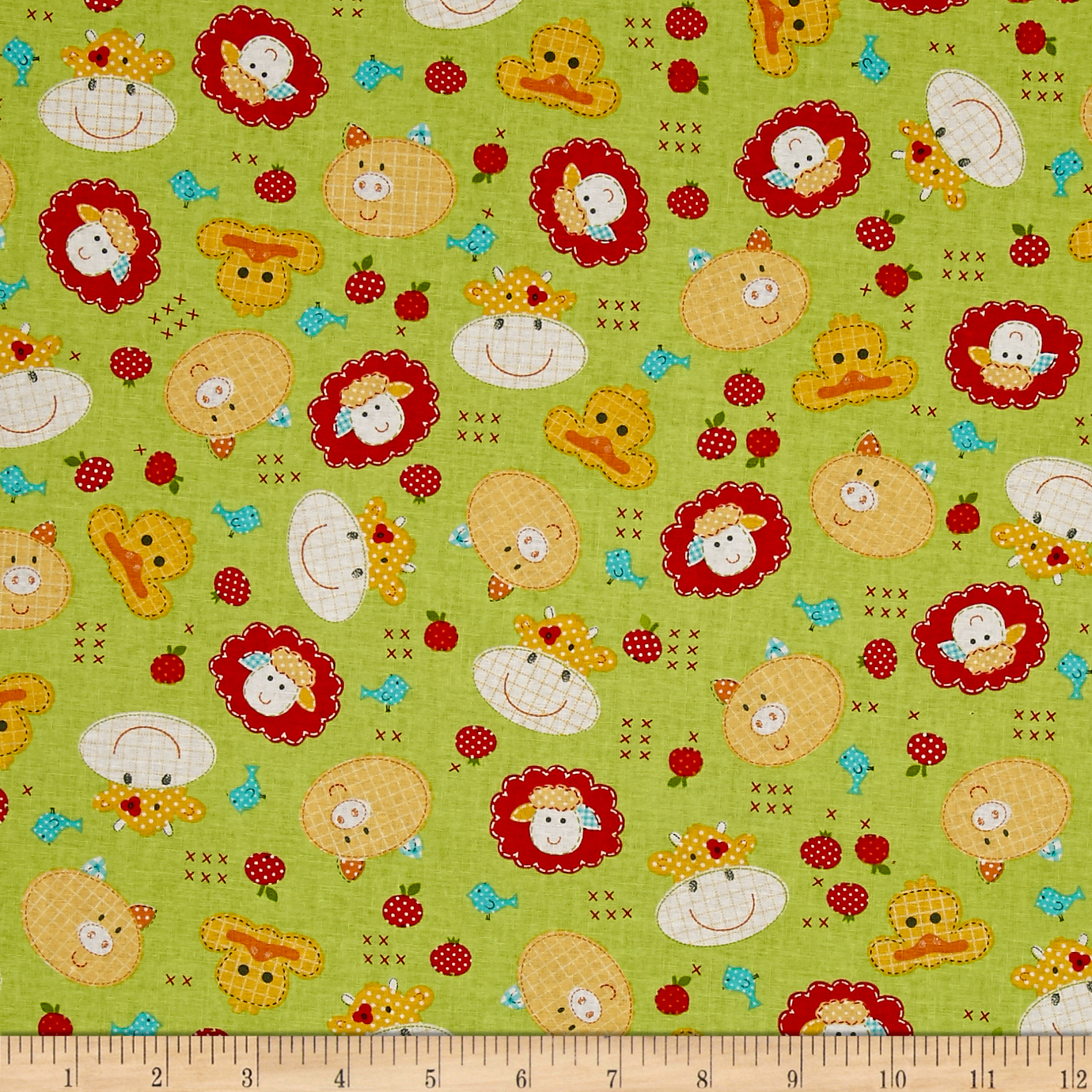Farm Friends Animal Friends Green Fabric by Exclusively Quilters in USA