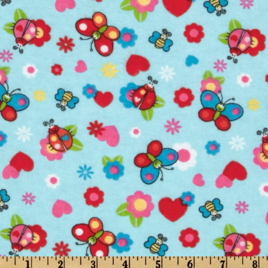 Camelot Flannel Butterflies Blue
