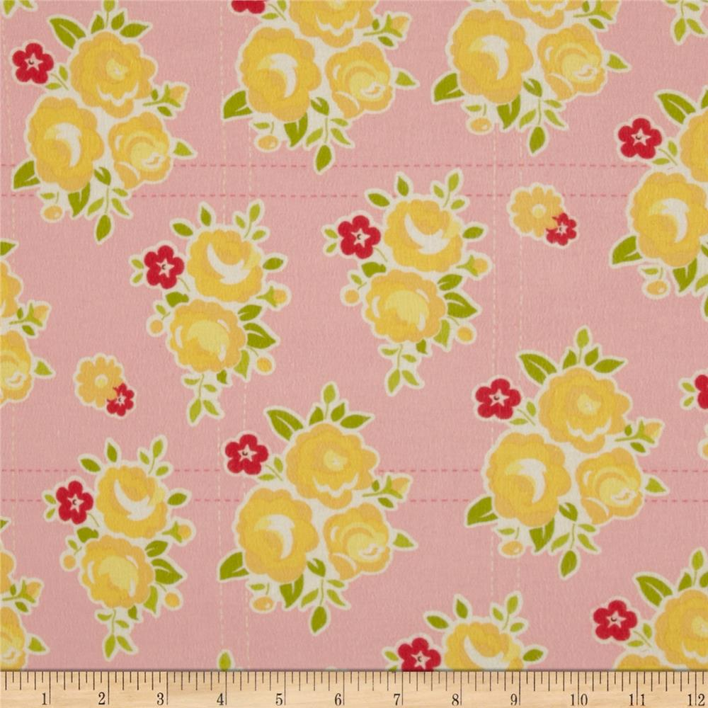 Riley Blake Sidewalks Flannel Floral Pink