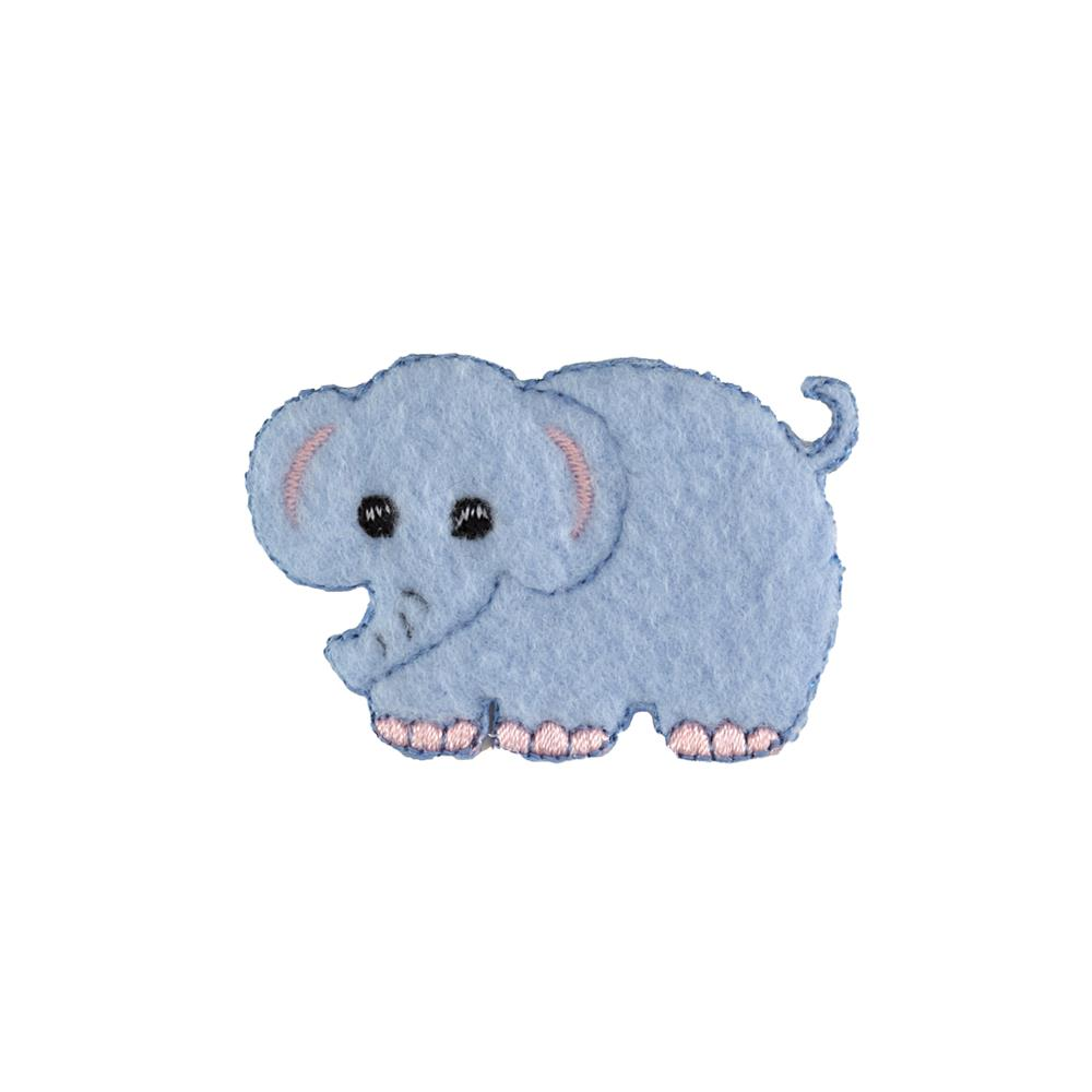 Elephant Fleece Applique Blue