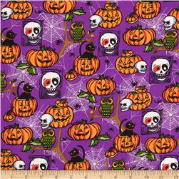 Horror Scope Skulls & Jack-O-Lanterns Purple