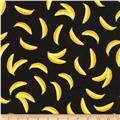 Kaufman Sevenberry Mini Prints Bananas Black