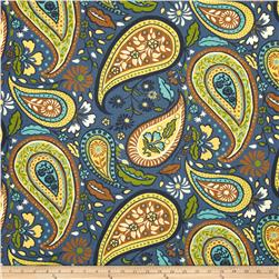 Robert Allen Crypton Art Paisley Indigo Fabric