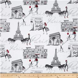 Timeless Treasures Francophile Paris Scenic White