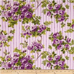 April Cornell Glorious Garden Rose on Stripes Lilac