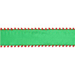 1 1/2'' Pom-Pom Edge Wired Ribbon Green/Red