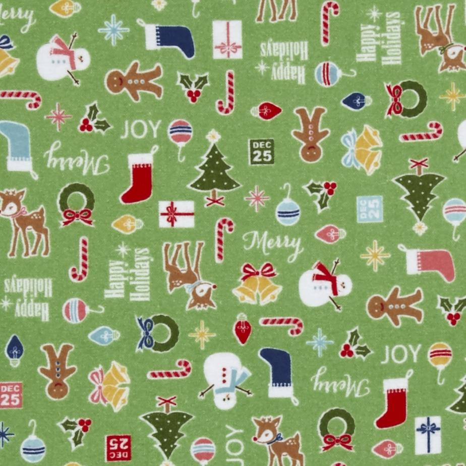 Riley Blake Cozy Christmas Flannel Main Green