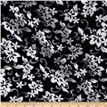 Kaufman Sevenberry Plisse Collection Troopical Flowers Black