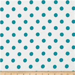 Cotton Jersey Knit Polka Dots Blue Fabric
