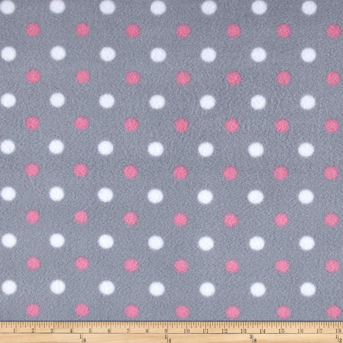 Simply Simply Dot Fleece Grey/Pink Fabric By The Yard