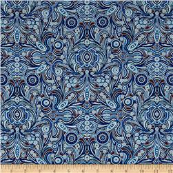 Liberty of London Tana Lawn Peach Nouveau Blue/Brown