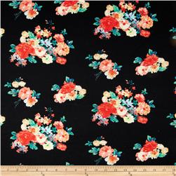 Stretch Ponte de Roma  Knit Floral Black/Coral
