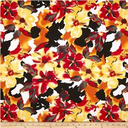 Bloom Stretch Cotton Sateen Flowers Orange