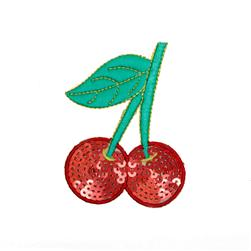 Embroidered Cherries Sequin Applique Red