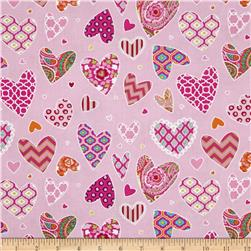 Haute Girls Hearts Pink Fabric