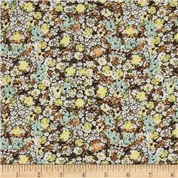Spandex ITY Jersey Knit Floral Yellow/Mint/Brown