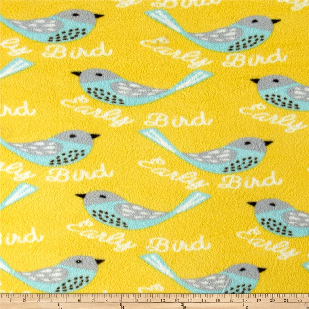 Printed Fleece Bird Yellow