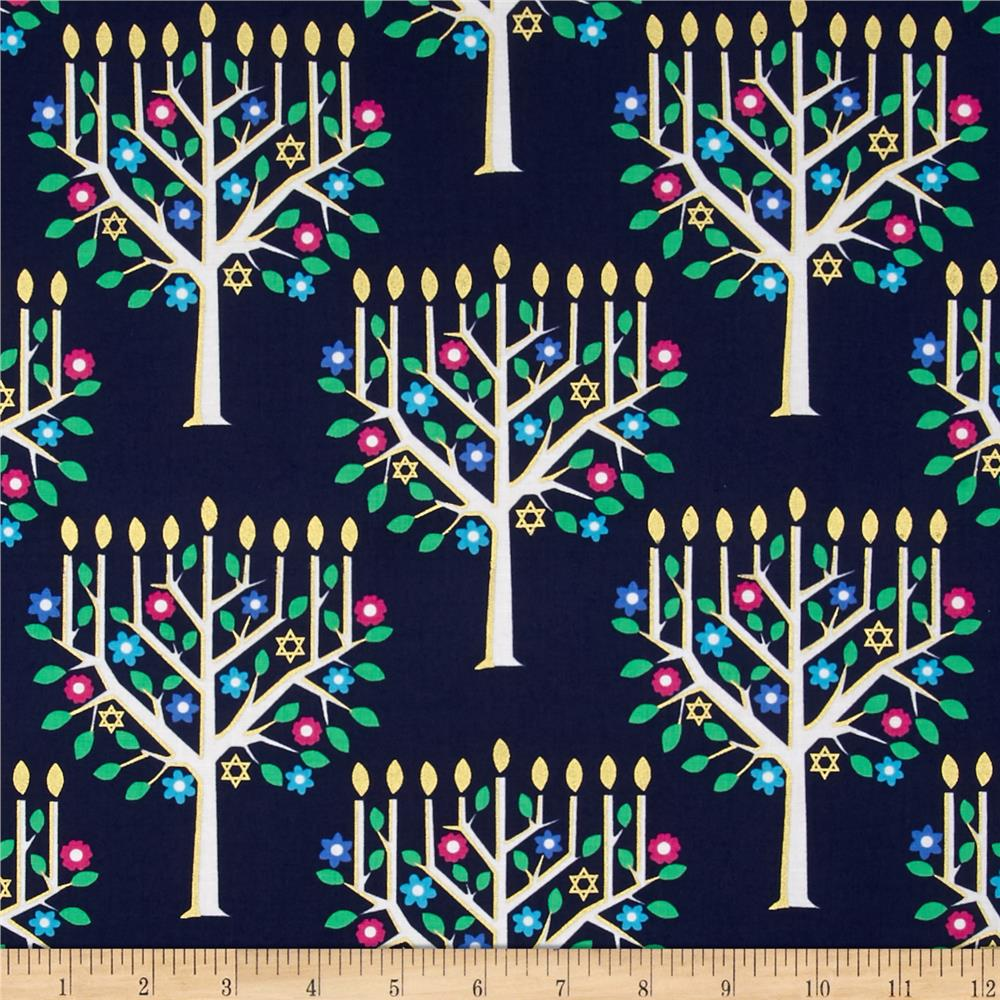 Michael Miller Holiday Metallic Tree of Light Navy