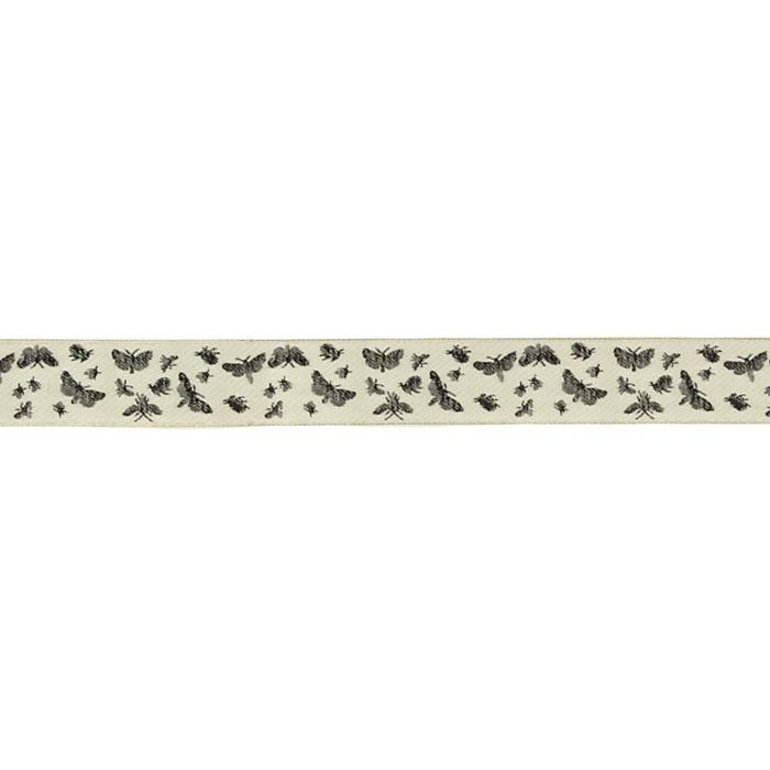 "7/8"" Laura Foster Nicholson Toile Ribbon Black/Cream"