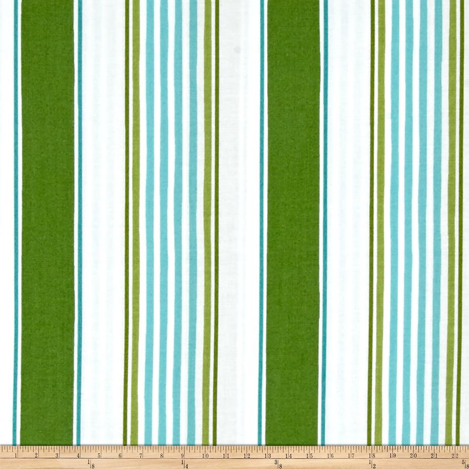Merry Mistletoe Linen Stripe Green Fabric