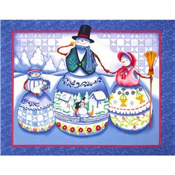 Jim Shore Snowmen Snow Family Panel Blue