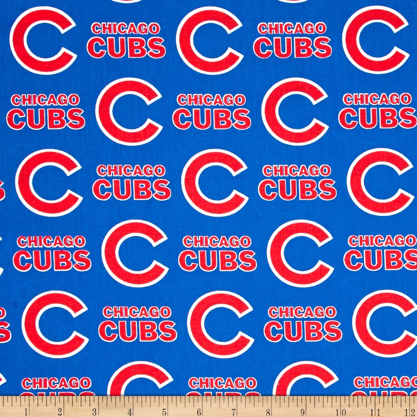 MLB Cotton Broadcloth Chicago Cubs Blue/Red Fabric by Fabric Traditions in USA
