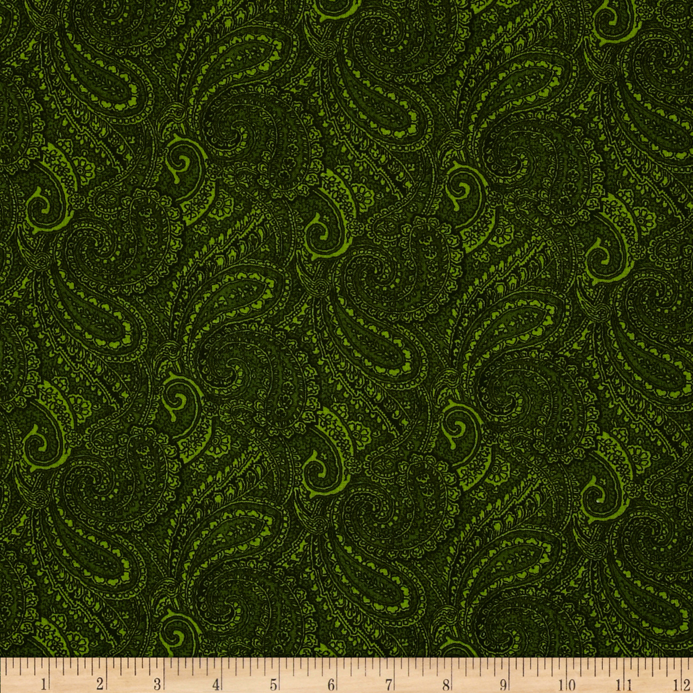 Paisley 108'' Wide Back Light Green Fabric