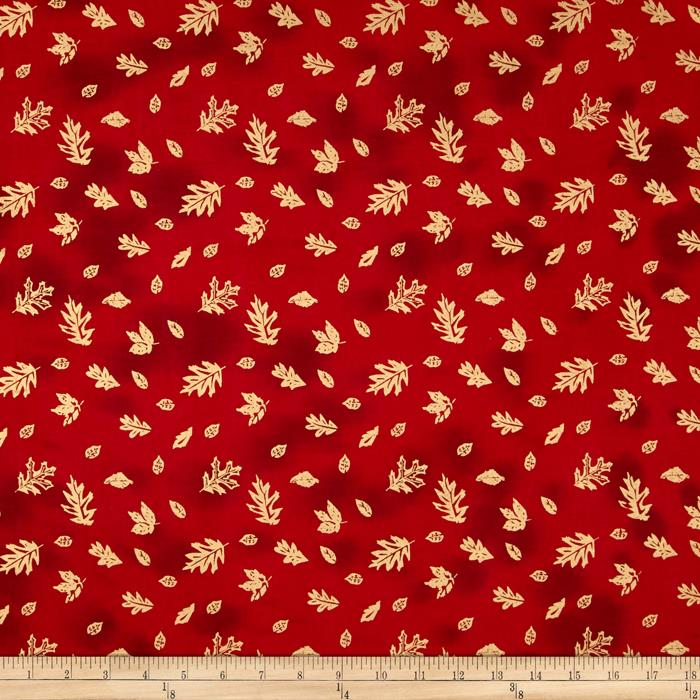 Indian Batik Harvest Small Leaf Metallic Red