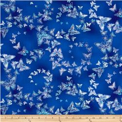Timeless Treasures Dutchess Metallic Allover Butterflies Blue