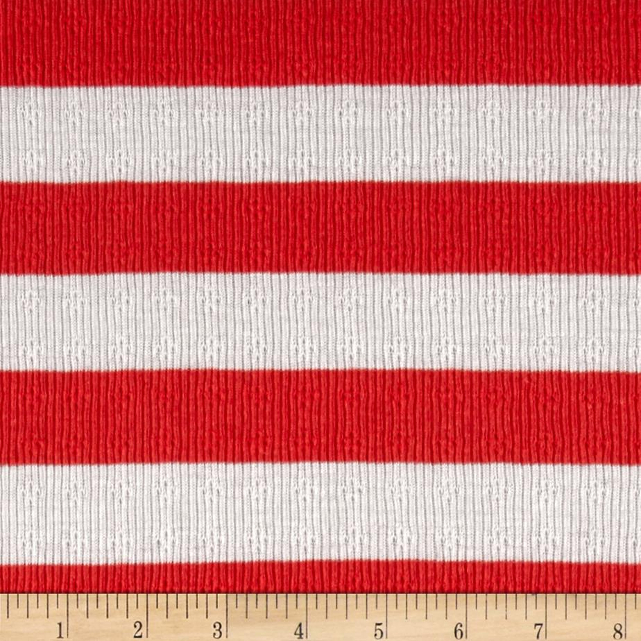 Pointelle Stripe Jersey Knit Ivory/Red