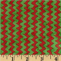 Peanuts Christmas Time Zig Zag Stripe Red/Green Fabric